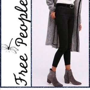 Free People Jacquard Lace Black Skinny Jeans